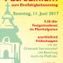 Plakat zum Patrozinium am 11. Juni 2017, ab 09.30 in der Pfarre Stammersdorf.. Mit Festgottesdienst und Frühschoppen